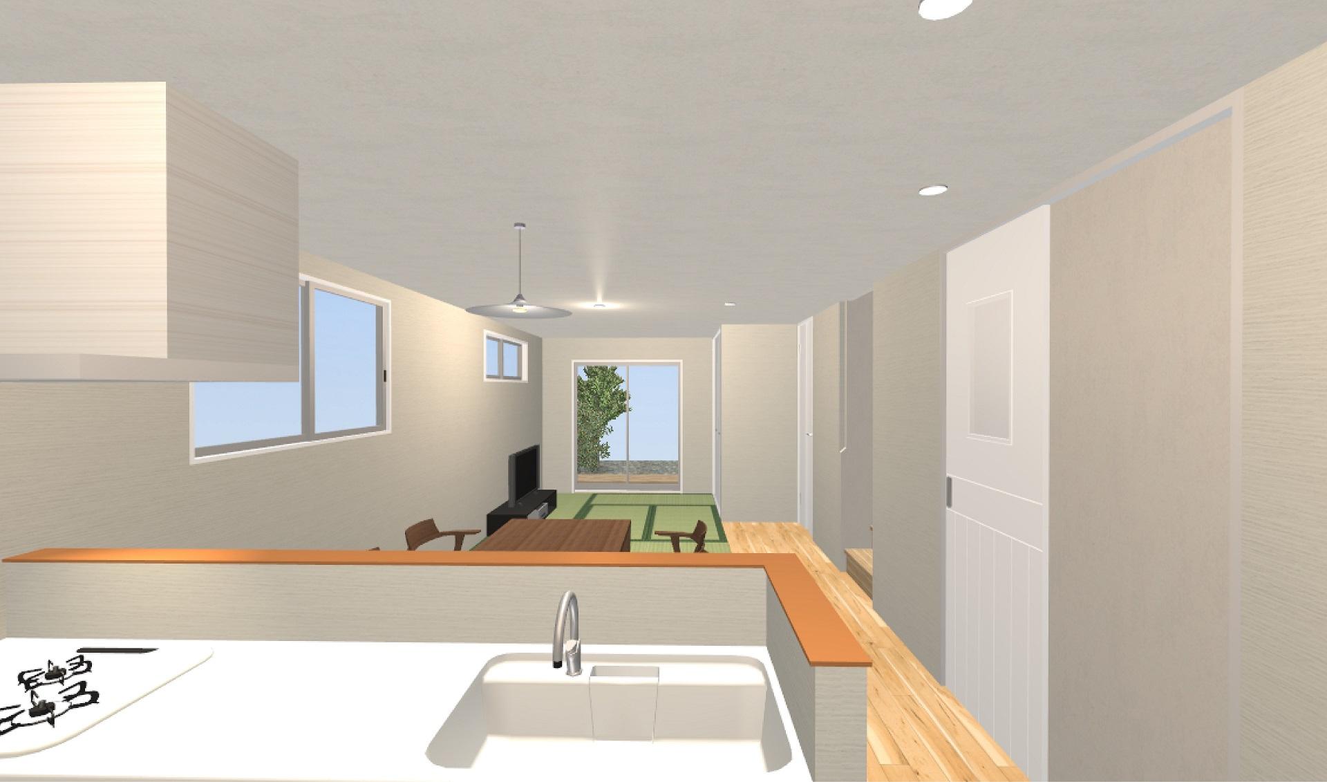 1階対面式キッチン