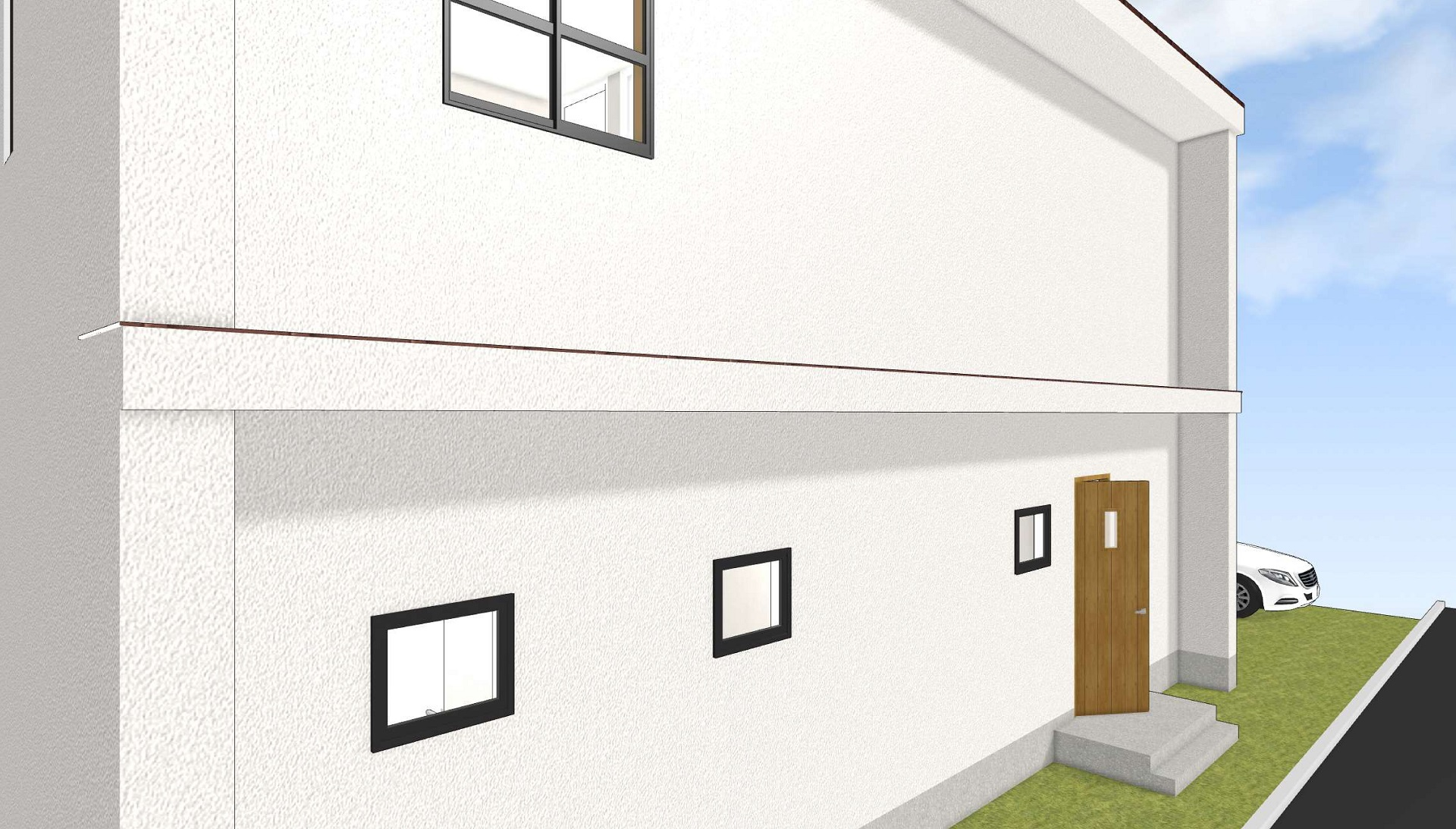 白い壁・玄関